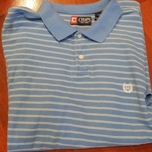 Chaps XXL 100% Cotton Striped Polo Shirt Lt Blue